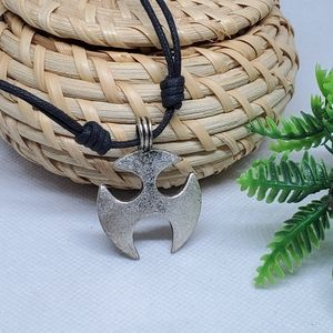 N133 Rustic Silver Pendant & Leather Cord Necklace